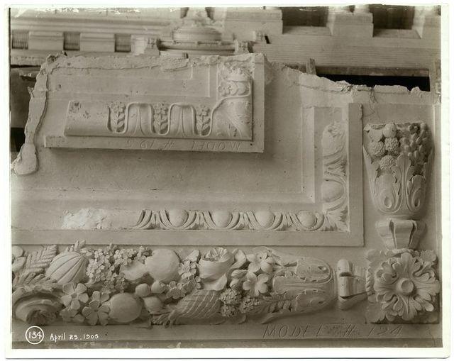[Plaster model of moldings.]