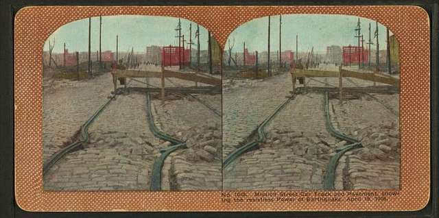 Mission Street car track and pavement showing the resistless power of earthquakes, April 18, 1906.