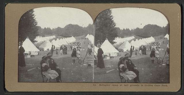 Refugees' Camp at ball grounds in Golden Gate Park.
