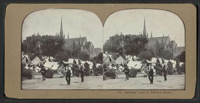 Refugees' camp in Jefferson Square.