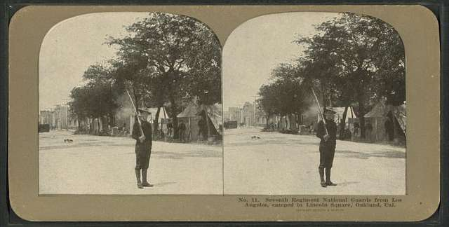 Seventh Regiment National Guards, from Los Angeles, camped in Lincoln Square, Oakland, Cal.