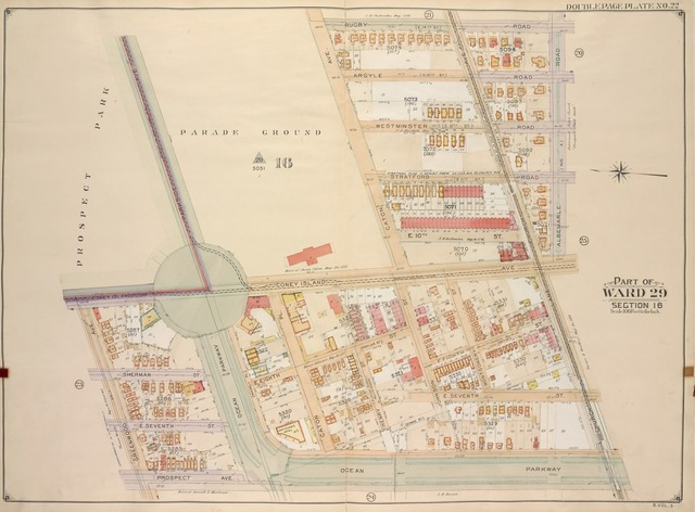 Brooklyn, Vol. 5, Double Page Plate No. 22; Part of Ward 29, Section 16; [Map bounded by Rugby Road (E. 14th St.), Albemarle Road (Avenue A), Church Ave., Church Lane, Ocean Parkway; Including Prospect Ave., Greenwood Ave., Parkside Ave., Coney Island Ave.]