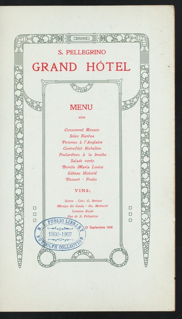 "DINNER [held by] CONGRESS OF ITALIAN ENGINEERS AND ARCHITECTS [at] ""GRAND HOTEL, [S. PELLEGRINO?], ITALY"" (FOR;)"