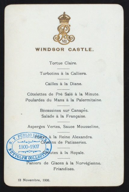 "DINNER IN HONOR OF HAAKON VII WHEN HE RECEIVED THE ORDER OF THE GARTER OF WINDSOR AND ENGLAND [held by] KING EDWARD VII [at] ""WINDSOR CASTLE, ENGLAND"" (FOR;)"