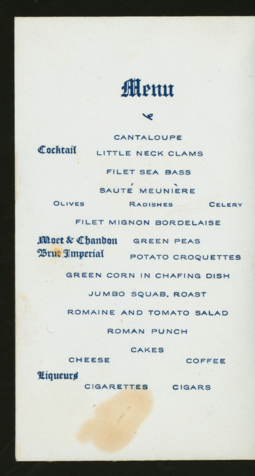 """DINNER TENDERED BY MEMBERS TO THE """"SENIOR EIGHT"""" IN HONOR OF THEIR VICTORY IN THE SENIOR EIGHT-OARED SHELL RACE AT THE PEOPLE'S REGATTA HELD ON THE SCHUYLKILL RIVER, PHILADELPHIA ON JULY 4, 1906 [held by] NASSAU BOAT CLUB [at] """"NEW YORK ATHLETIC CLUB, NEW YORK, NY"""" (OTHER (CLUB);)"""