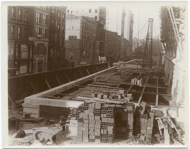 Exterior marble work : construction of the Fortieth Street driveway.