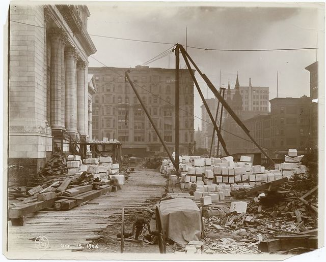 Exterior marble work : view of materials in front of the Fifth Avenue facade, looking north.