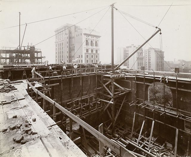 Interior work : construction of the Main Reading Room, looking southwest.