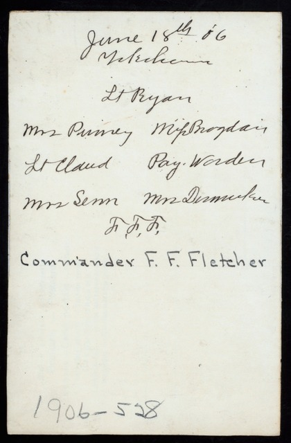 """LUNCHEON ON BOARD USS RALEIGH [held by] COMMANDER FRANK F.FLETCHER [at] """"EN ROUTE TO YOKAHAMA, JAPAN"""" (SS;)"""