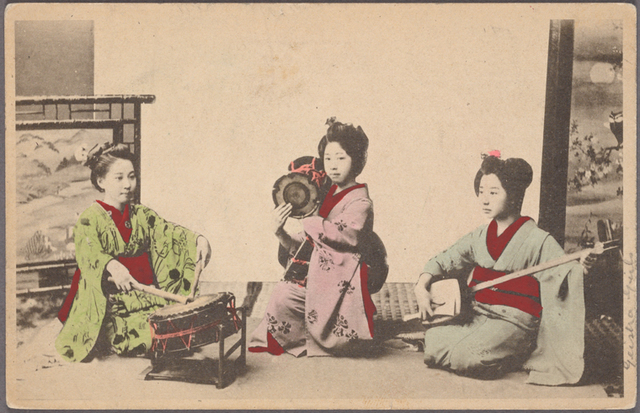 Maiko playing musical instruments.