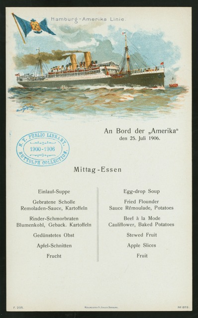 "MITTAG-ESSEN [held by] HAMBURG-AMERIKA LINIE [at] ""AN BORD DER """"AMERIKA"""""" (SS;)"
