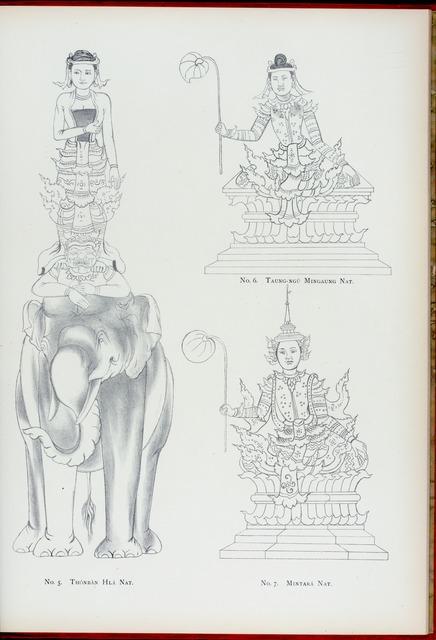 [The thirty-seven nats] No. 5. Thónbàn Hlá nat.  No.6. Taung-ngú Mingaung nat. No. 7. Mintará nat.