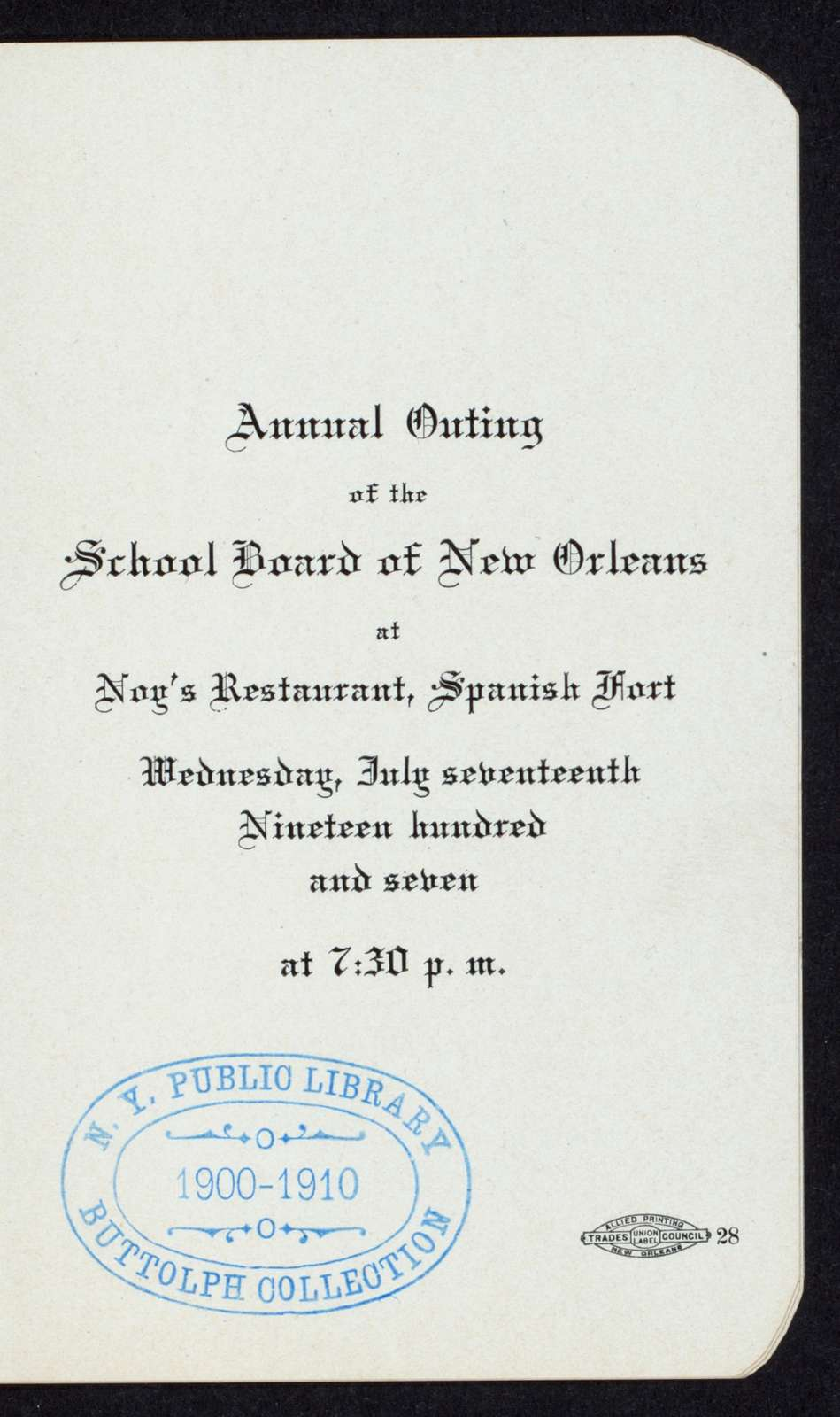 "ANNUAL OUTING [held by] SCHOOL BOARD OF NEW ORLEANS [at] ""NOG'S RESTAURANT, SPANISH FORT, NEW ORLEANS, LA"" (REST;)"