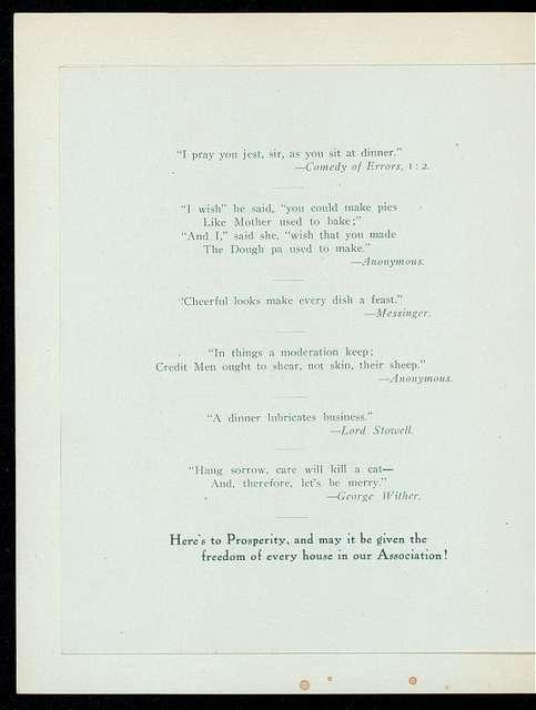 DINNER [held by] NEW YORK CREDIT MEN'S ASSOCIATION [at] HOTEL ST. DENIS (HOTEL;)