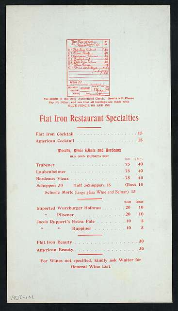 """LUNCH READY [held by] FLAT IRON RESTAURANT AND CAFE [at] """"NEW YORK, NY"""" (REST;)"""