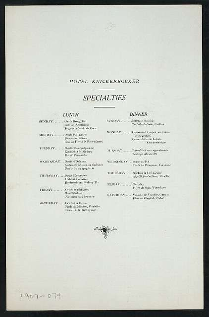 "LUNCHEON [held by] HOTEL KNICKERBOCKER [at] ""NEW YORK, NY"" (HOTEL;)"