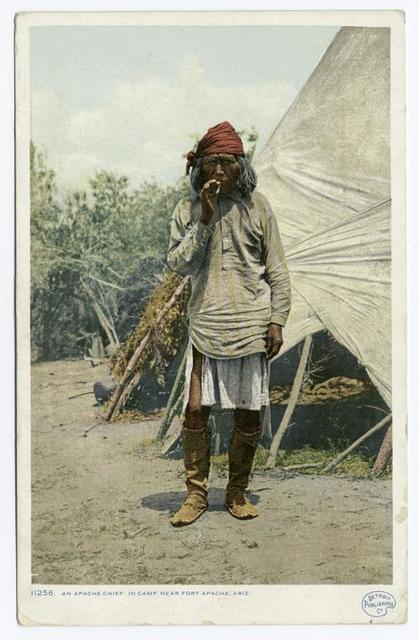 An Apache Chief in Camp, New Mexico