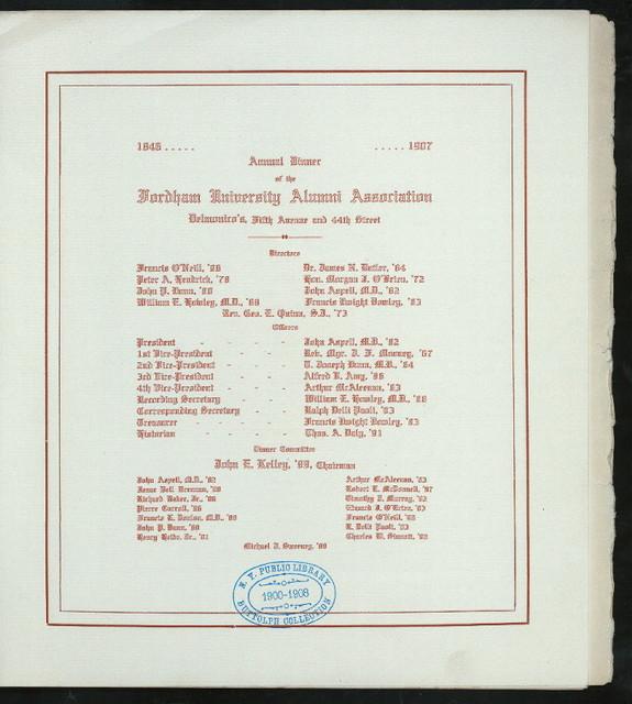 "ANNUAL DINNER [held by] FORDHAM UNIVERSITY ALUMNI ASSOCIATION [at] ""DELMONICO'S, NEW YORK, NY"" (REST;)"