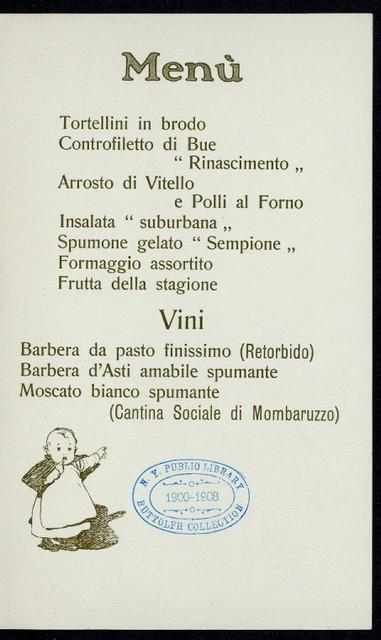 """BANCHETTO SOCIALE: INAUGURAZIONE DEI FABRICATI DELLA SOCIETA NEL XXVI ANNO DELLA SUA CONSTITUZIONE [held by] SOCIETA ANONIMA COOPERATIVA SUBURBANA DI CONSUMO FRAGLI AGENTI BELLE STRADE FERRATE IN MILANO [at] """"MILANO, ITALY"""""""