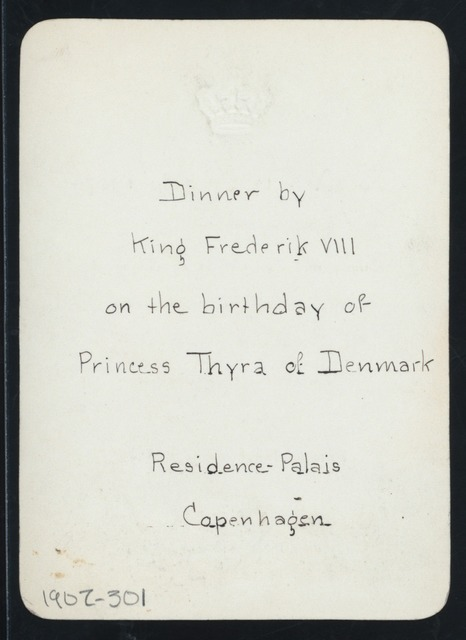 "BIRTHDAY OF PRINCESS THYRA OF DENMARK] [held by] [KING FREDERIK VIII] [at] ""[RESIDENCE-PALAIS, COPENHAGEN, DENMARK]"" (OTHER (ROYAL PALACE);)"