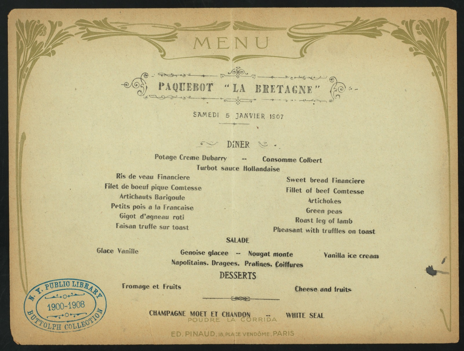 "DAILY MENU, DINNER [held by] CIE GLE TRANSATLANTIQUE [at] ""ABOARD PAQUEBOT """"LA BRETAGNE"""""" (SS;)"