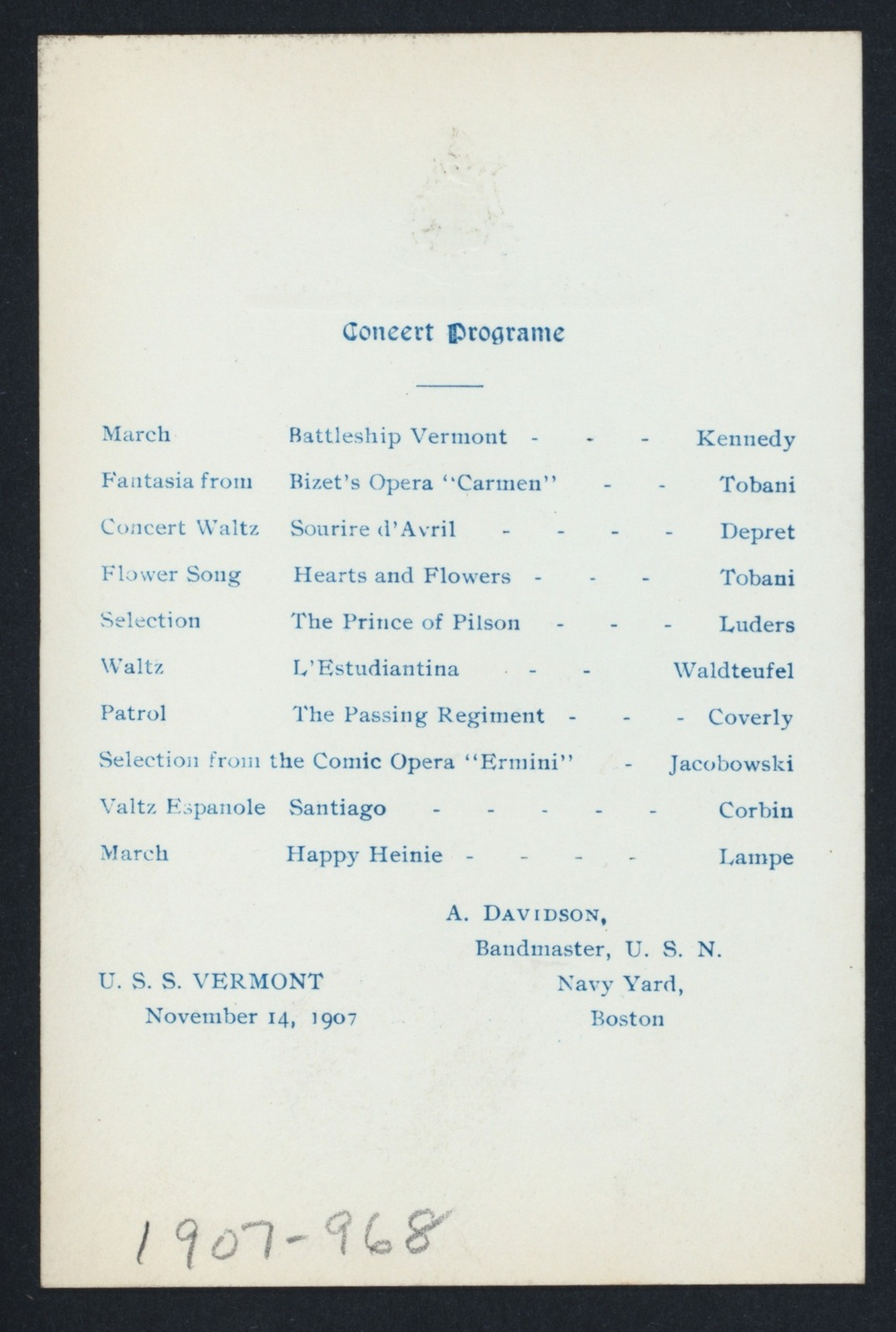 DINNER [held by] UNITED STATES SHIP VERMONT [at] ABOARD (SS;)