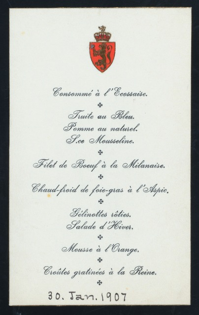 """DINNER TO SECRETARIES OF STATE} [held by] [KING HAAKON VII] [at] """"[PALAIS ROYAL, CHRISTIANIA, NORWAY]"""" (OTHER (PALACE);)"""