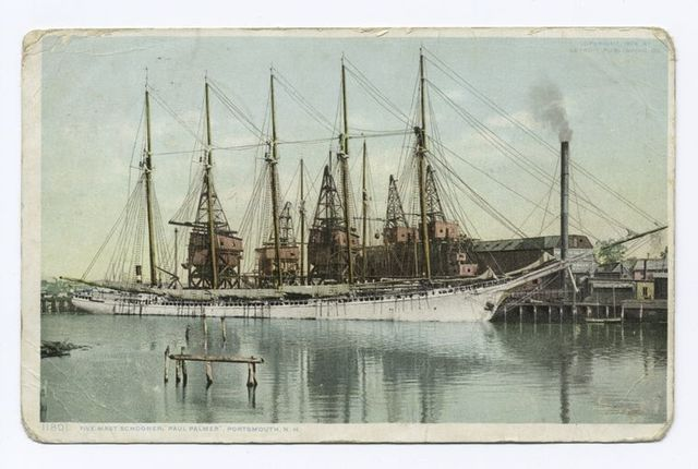 "Five Mast Schooner ""Paul Palmer,"" Portsmouth, N.H."