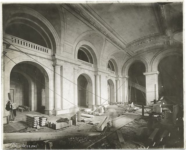 Interior work, Astor Hall : completed arches on the north and west sides, and the vault.