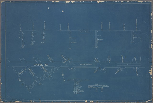 Maps showing borings in Canal Street between 1891 and 1908