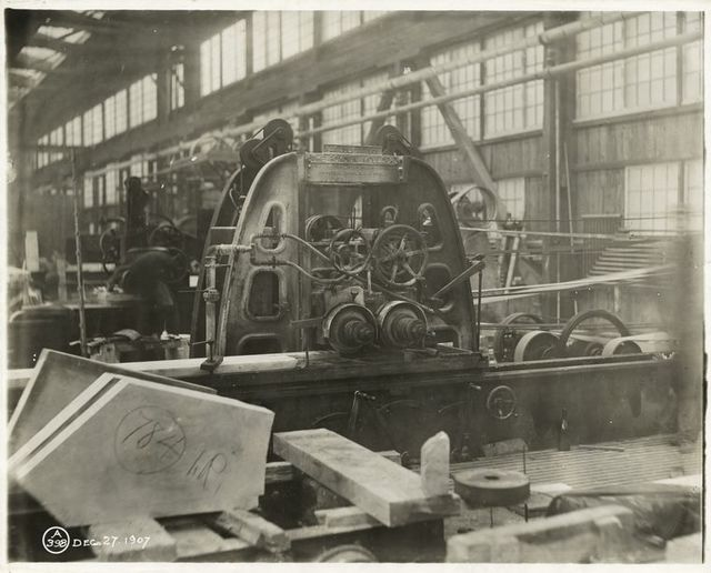 Moulding machine in a marble yard in Long Island City.