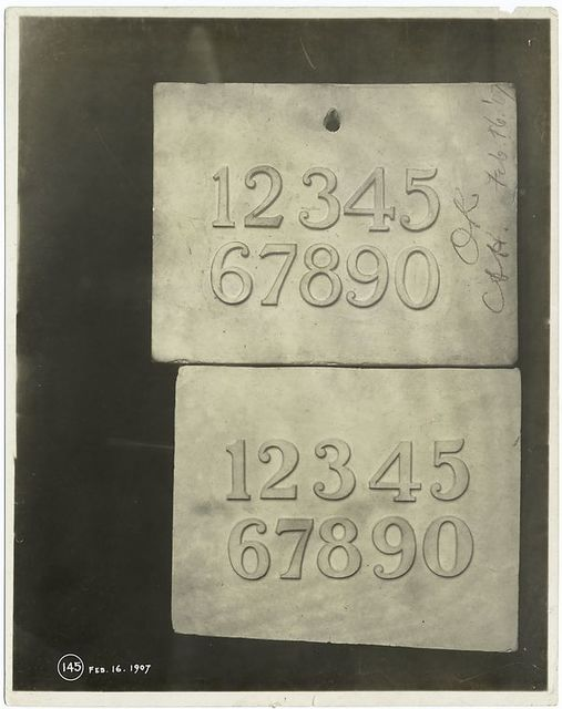 [Plaster models of Arabic numerals in relief.]