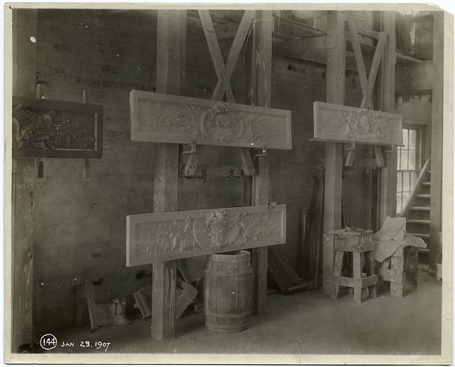 [Plaster models of decorated panels.]
