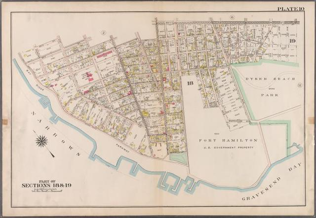 Plate 10: [Bounded by 85th Street, 1st Avenue, 86th Street, 2nd Avenue, 87th Street, 3rd Avenue., 88th Street, 5th Avenue, 86th Street, New Utrecht Avenue, Atlantic Avenue, (Dyker Beach Park) 7th Avenue, Warehouse Avenue, Cropsey Avenue, Dahlgreen Place, 92nd Street, ((Fort Hamilton) Fort Hamilton Avenue, Denyse Street, 5th Avenue and Bay Ridge Parkway.]