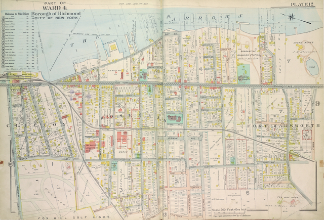 Plate 12, Part of Ward 4: [Map bound by Pier Line, New York Ave, Lyman Ave, Fingerboard Road, Fletcher St, Oak St, Fox Hill Golf Links, Vanderbilt Ave]