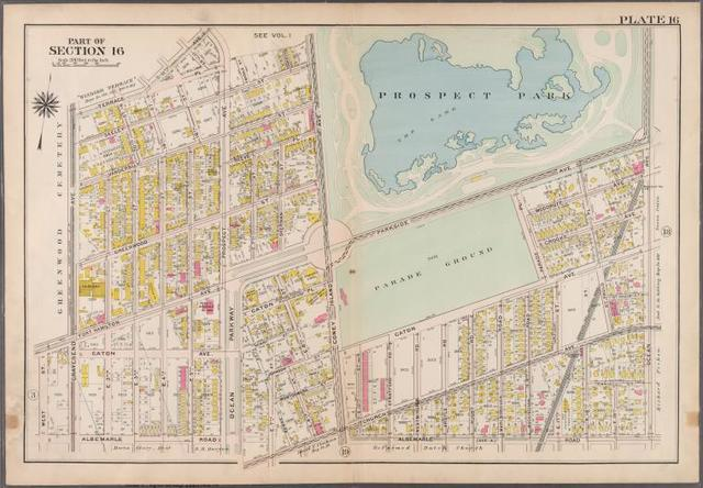 Plate 16: [Bounded by Terrace Place, 11th Avenue, Prospect Avenue, Seeley Street, (Prospect Park) Coney Island Avenue, Parkside Avenue, Ocean Avenue, Albemarle Road, Church Avenue, West Street, Fort Hamilton Avenue and (Greenwood Cemetery) Gravesend Avenue.]
