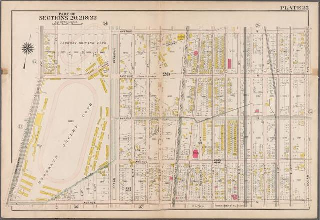 Plate 25: [Bounded by Avenue Q., Ocean Avenue, Avenue U. and Gravesend Avenue.]