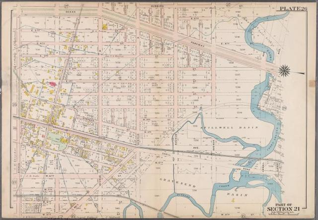 Plate 26: [Bounded by Ocean Parkway, Avenue X., Hubbard Street, Canal Avenue, E. 4th Street, Canal Avenue, (Gravesend Basin) Shell Road, W. 5th Street, Avenue X., W. 9th Street and Avenue U.]