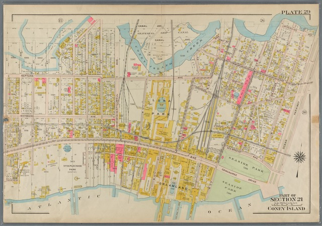 Plate 29: Coney Island. [Bounded by Canal Avenue (Coney Island Creek), Shell Road, Dewey Place, W. 6th Street, Neptune Avenue, W. 3rd Street, Riverside Avenue, Ocean Parkway, Concourse Drive, (Dreamland & Steeplechase Park) Surf Avenue and W. 23rd Street.]