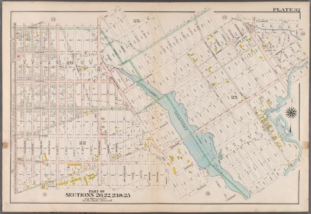 Plate 32: [Bounded by Avenue P., E. 31st Street, Avenue Q., E. 34th Street, Avenue R., Kimball Street, Fillmore Avenue, E. 55th Street, Lay Avenue, Flatbush Avenue, Avenue U., Ryder Street, Avenue X., E. 30th Street, Avenue W., Knapp Street, Avenue V. and Ocean Avenue.]
