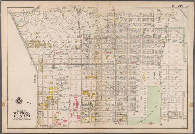 Plate 34: [Bounded by Ralph Avenue, E. 98th Street, Winthrop Avenue, E. 96th Street, Clarkson Avenue, E. 95th Street, Hunterfly Road, Broadway Avenue, Ralph Avenue, Clarkson Road, Canarsie Avenue, E. 49th Street, Snyder Avenue, E. 39th Street, Clarkson Avenue, Winthorp Street, Kingston Avenue and East New York Avenue.]