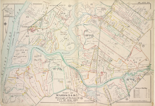 Plate 34, Part of Wards 3, 4, & 5: [Map bound by Cannon Ave, Burying Hill Road, Richmond Turnpike, Union Ave, Old Stone Road, Rockland Ave, Forest Hill Road, Fresh Kills Road, State Line; Lots at Linoleumville - Richmond Turnpike, Feldmeyer Lane]