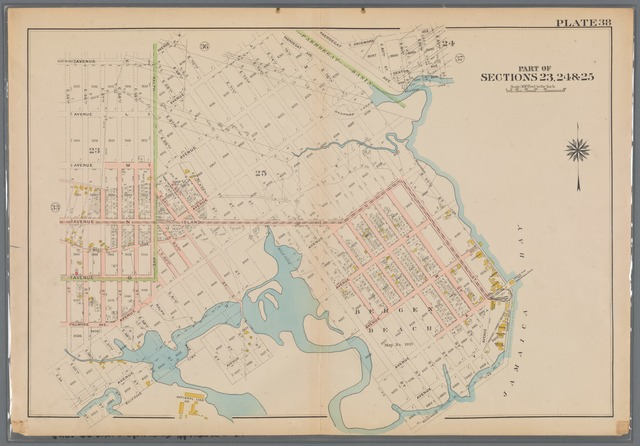 Plate 38: [Bounded by Avenue K., Ralph Avenue, Avenue K., E. 70th Street, Avenue L., E. 75th Street, Avenue M., Skidmore Avenue, E. 83rd Street, Denton Avenue, E. 80th Street, [...] Avenue N., E. 76th Street, Avenue Y., E. 69th Street, Avenue T., E. 65th Street, Avenue U., E. 54th Street, Avenue T. and E. 55th Street.]
