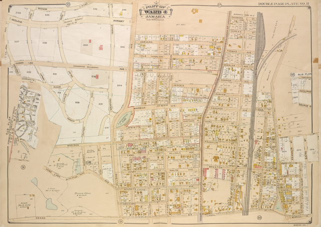 Queens, Vol. 1, Double Page Plate No. 11; Sub Plan; Formerly Town of Flushing 3rd Ward; [Map bounded by Grand Ave., Black Stump Road, Charlecote, Croydon Jamaica Estates Road, Edgerton Blvd., Doncaster Blvd., Henley Road, Midland Parkway, Radnor Road, Brdnor Road, Avon Road, Kent Road, Chevy Chase Road]; Part of Ward 4 Jamaica; [Map bounded by Hillside Ave., Prospect Ave., Home Lawn Ave., Harvard Ave., Yale Ave., Larremore Ave., Homer Lee Ave., Compton Terrace, Warwick Ave., Hilldale Ave., Avalon Ave., Ackroyd Ave., Dugan Ave., Thomas Ave., Shelton Ave., Wheeler Ave., Cooper Ave., Dunham Ave., Candage Ave., Brenton Ave.; Including Madison St., High St., Lafayette St., King St., Emma St., Henry St., Orchard St., N. First St., Liberty St., Fulton St., Skidmore St., Charles St., Dora St., Franklin St., Willow St., Douglas St., Larch St., South St., Theoadbe St., Sayre St., George St., Gilbert St., Samuel St., William St.; Including Covert PL., Islington PL., Hedges PL., St. Albans PL., Eastwood PL.; Including Merrick Road, Radnor Road, Croydon Road, Charlecote Cardiff Road, Henley Road, Dalny Road, Ridge, Circle, Wexford Terrace, Midland Parkway, Putney Road, Black Stump Road, Canonburg Road]; Sub Plan; [Map bounded by The Odore St., Adolph St., George St.]