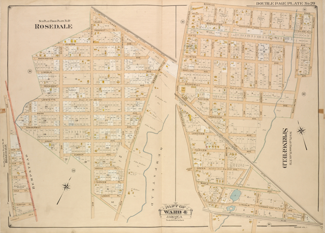 Queens, Vol. 1, Double Page Plate No. 20; Part of Ward 4; Jamaica; Sub Plan From Plate No. 19; Rosedale; [Map bounded by Plaza Mill Ave.; Including Ocean Ave.]; Sub Plan From Plate No. 18; Springfield; [Map bounded by Merrick Rd., Compton Pl.; Including Washington Ave., Springfield Road.]; Sub Plan from Plate No. 19; Rosedale; [Map bounded by Ocean Ave.; Including Boundary Line of the City New York, Conduit.]