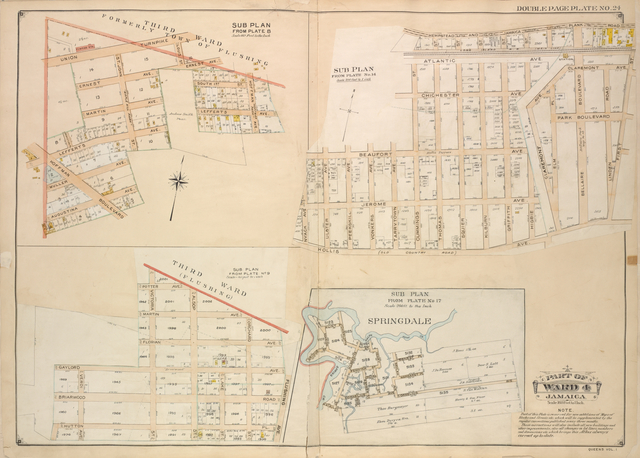Queens, Vol. 1, Double Page Plate No. 24; Part of Ward 4; Jamaica; Sub Plan From Plate 18; [Map bounded by 3rd Ward Formerly town of Flushing, Union Turnpike, Louis St.; Including Ernest Ave., Hoffman Ave., Hoffman Boulevard, Augustina Ave.]; Sub Plan From Plate No. 14; [Map bounded by Hempstead and Jamaica Plank road, 1st St., Hollis Ave.; Including Old Country Road, Nvack Ave., Beaufort Ave.]; Sub Plan From Plate No. 17; [Map bounded Springdale, Ralph Hunt Cr., Cornelius Ave., Macaulay Ave.; Including Spring Cr., Bridge St., Marion St., Hunt PL.]; Sub Plan From Plate No. 9; [Map bounded by Third Ward (Flushing), Flushing Ave., Orchard St., Lake St., Alsop St., Victoria St.; Including Verdi Ave., Gaylord Ave., Florian Ave., Martin Ave., Potter Ave.]