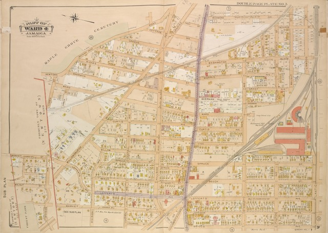 Queens, Vol. 1, Double Page Plate No. 5; Sub Plan; [Map bounded by Division Ave.; Including Market St., Church St., Richmond Hill St., Drive, Walnut St.];Part of ward 4, Jamaica; [Map bounded by Newtown Road, Whitepot Road, Cottage Ave., Richmond Ave., Williamsburgh Turnpike, Metropolitan Ave., Washington Ave., Morris Ave., Curtis Ave., Brooklyn and Jamaciam Plank Road, Central Ave., Lefferts Ave., Hillside Ave., Division Ave., Johnson Ave., Myrtle Ave., Briggs Ave., Stewart Ave., Fulton Ave., Grant Ave., Atlantic Ave.; Including Troy St., Greene St., Gould St., Wickes St., Sherman St., Ward St., Linden St., Arbor St., Vine St., Willow St., Spruce St., Beech St., Church St., Market St., Richmond St., Park St., Chestnut St., Monroe St., Linwood St.; Including Elm PL., Willow PL., Sycamore PL.]