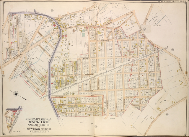 Queens, Vol. 2, Double Page Plate No. 26; Part of Ward two Nassau Heights and Newtown Heights; [Map bounded by Broadway, Court St., Horse Brook Road, Hoffman Boulevard, Trotting Course Lane, Dry Harbor, Hnson Ave., Bowne St., Corinth PL.; Including Caldwell Ave., Grove St., Warren St., grand View Ave., Calamus Road, Manilla St., Maurice Ave., Thomson Ave., Clermont Ave.]; Sub Plan; [Map bounded by Court St.]; Sub Plan; [Map bounded by Shell Road, Oliver PL.; Including Whitney Ave.]