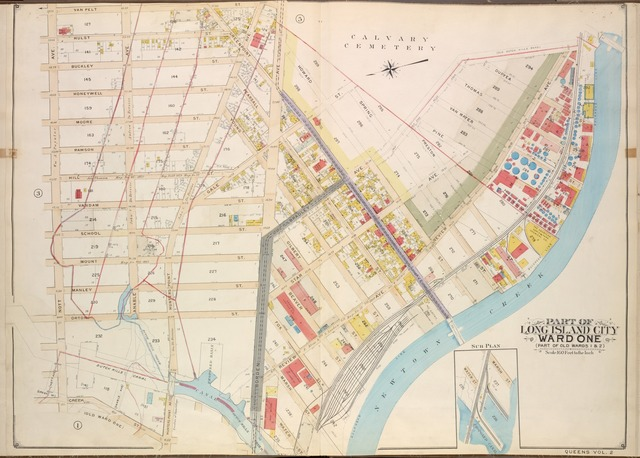 Queens, Vol. 2, Double Page Plate No. 4; Part of Long Island City Ward One (Part of Old Wards 1 & 2 ) Sub Plan; [Map bounded by Water St., Marsh St., Proposed Canal]; Part of Long Island City Ward One (Part of Old Wards 1 & 2 ) [Map bounded by Nott Ave., Anable Ave., Hunters Point Ave., Borden Ave., Bradley Ave., Green Point Ave., Review Ave., Newtown Creek, Star Ave.; Including Vanpelt St., Hulst St., Honeywell St., Moore St., Rawson St., Hill St., Vandam St., Gale St., School St., Mount St., Manley St., Orton St., Pearsall St., Young St., Gilbert St., Beaver St., Marsh St., Water St., Howard St., Spring St., Preston St., Pine St., Van Mater St., Thomas St., Dufyea St.]