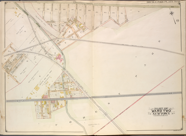 Queens, Vol. 2, Double Page Plate No. 43; Part of Ward Two Newtown; [Map bounded by Metropolitan Ave. (Williams Burg Turnpike), Ward Boundary line between Newtown and Jamaica, Myrtle Ave., Trotting Course Lane, Ocean View Ave.; Including Martin Ave., Vandine Ave., Spruce Ave., Beech PL., Hazel Ave.]